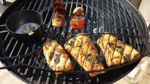 Lobster-tails-and-red-snappers-on-the-grill.