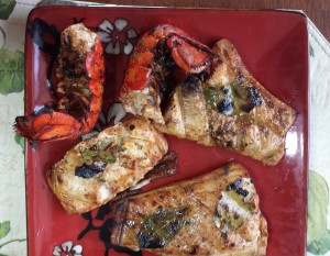 Lobster-tails-grilled-over-Alder-coals.